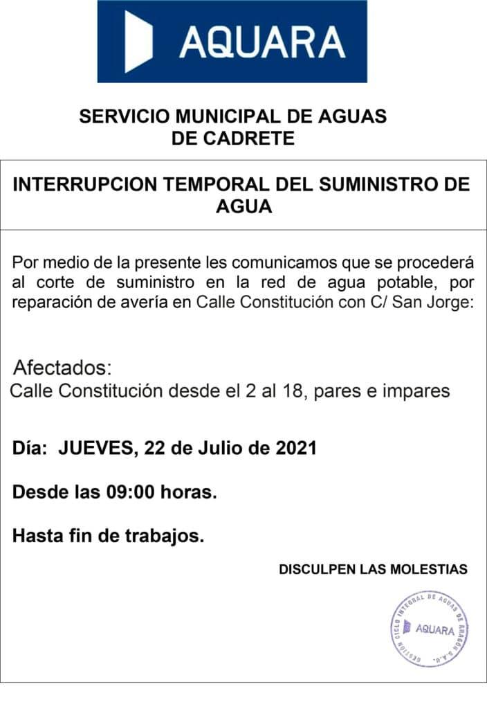 Cartel corte de agua 22 de julio 2021