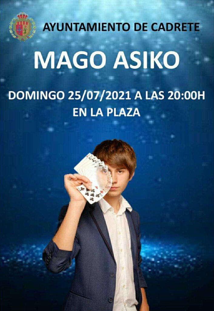 Cartel de la actuación del mago Asiko