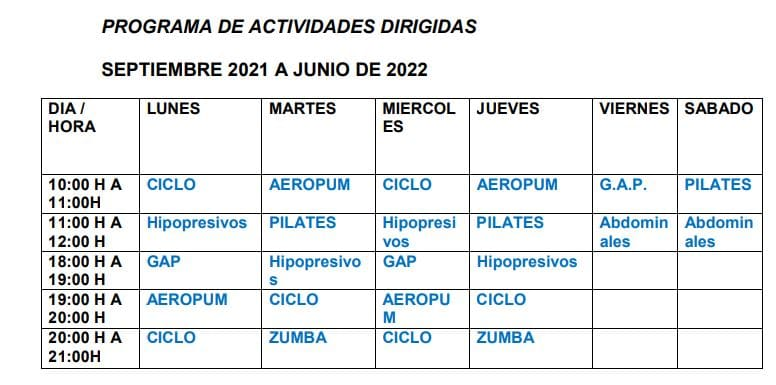 horario de actividades dirigidas del gimnasio de Cadrete
