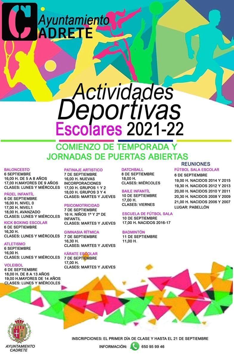 Actividades escolares cadrete 2021 2022