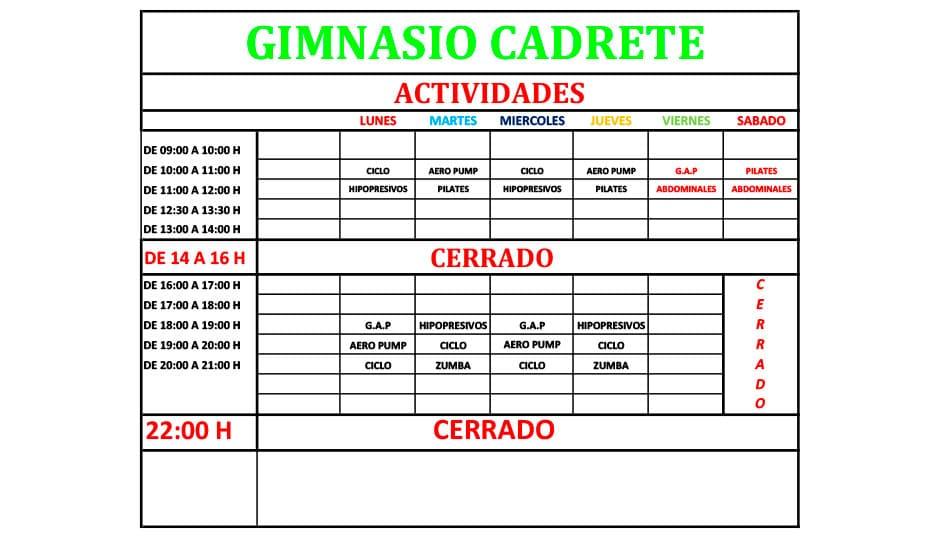 horarios del gimnasio de Cadrete
