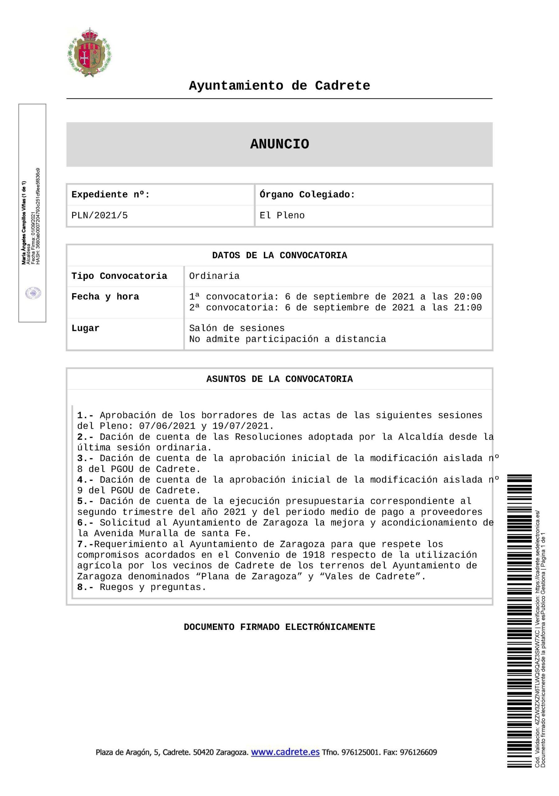 Anunco de pleno convocado po el Ayuntamiento de Cadrete