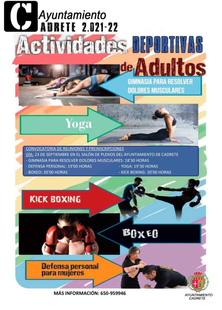 Actividades deportivas adultos Ayto. Cadrete 2021-2022