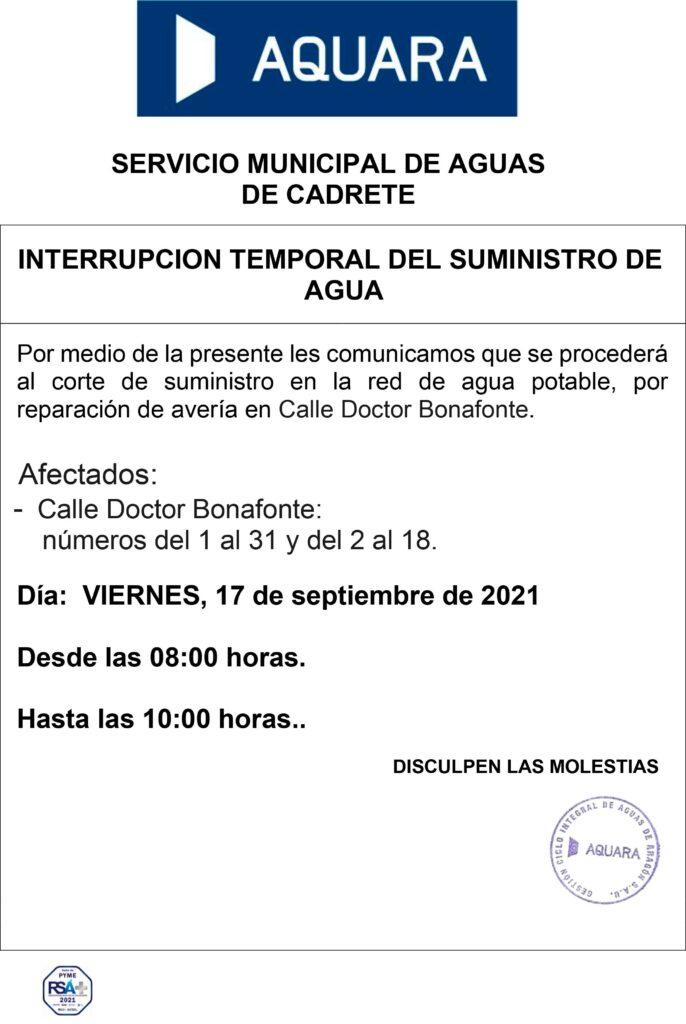 Interrupción del suministro de agua 17 de septiembre de 2021